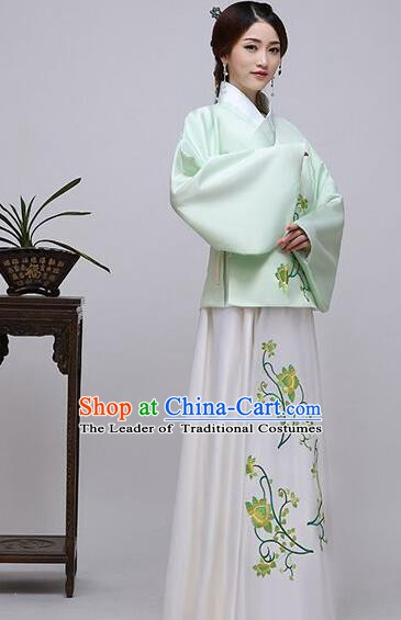 Traditional China Ancient Ming Dynasty Princess Costume Hanfu Green Blouse and White Skirt for Women