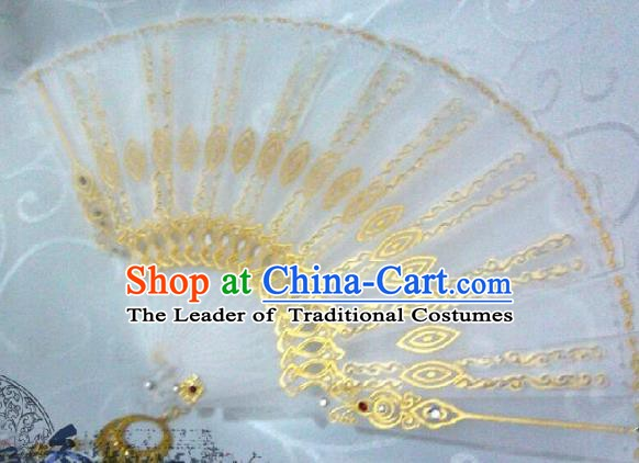 Traditional China Ancient Cosplay Swordsman Palace Lace Fans for Women
