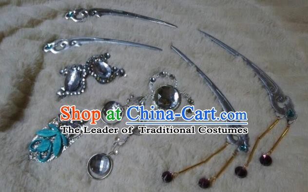 Traditional China Ancient Cosplay Swordsman Palace Lady Hair Accessories Hairpins for Women