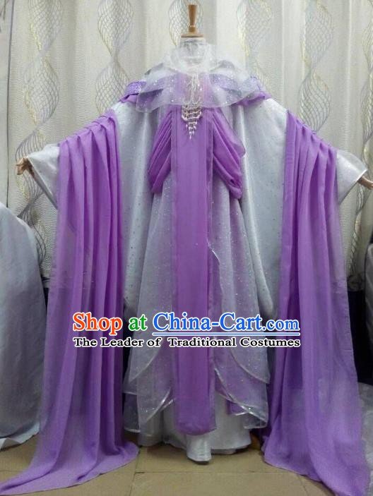 Traditional China Ancient Cosplay Palace Lady Costume Princess Hanfu Purple Dress Clothing for Women