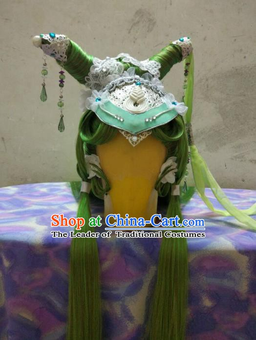 Traditional China Ancient Cosplay Swordswoman Hair Accessories Green Wig and Hairpins for Women