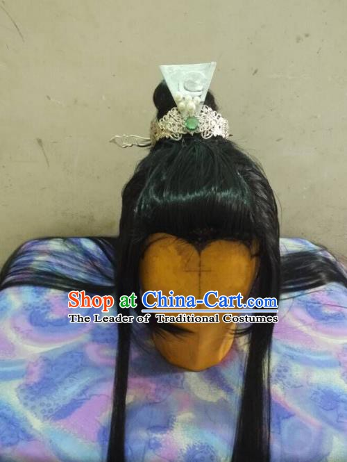Traditional China Ancient Cosplay Swordsman Wig and Hair Accessories Hairpins for Men