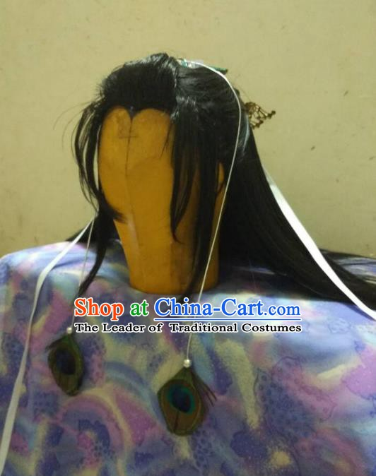 Traditional China Ancient Cosplay Swordsman Wig and Hair Accessories for Men