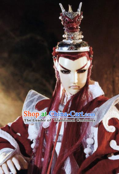 Traditional China Ancient Cosplay Swordsman General Wig and Hair Accessories Hairdo Crown for Men