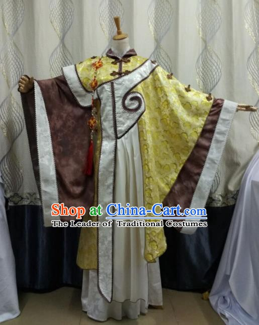 Traditional China Ancient Cosplay Swordsman Costume Taoist Priest Yellow Robe for Men