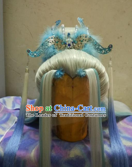 Traditional China Ancient Cosplay Prince Swordsman Wig and Hair Accessories Hairdo Crown for Men