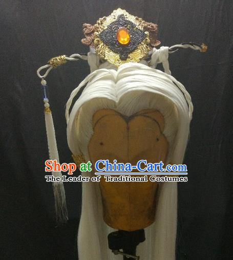 Traditional China Ancient Cosplay Swordsman White Wig and Hair Accessories Headwear for Men