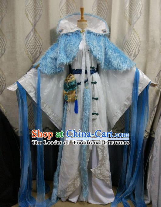 China Ancient Cosplay Swordsman Nobility Childe Costume Knight Fancy Dress for Men