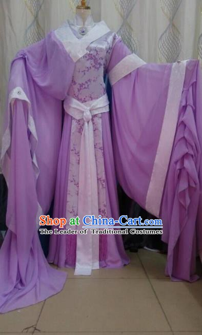 China Ancient Cosplay Palace Lady Costume Traditional Queen Hanfu Purple Dress for Women