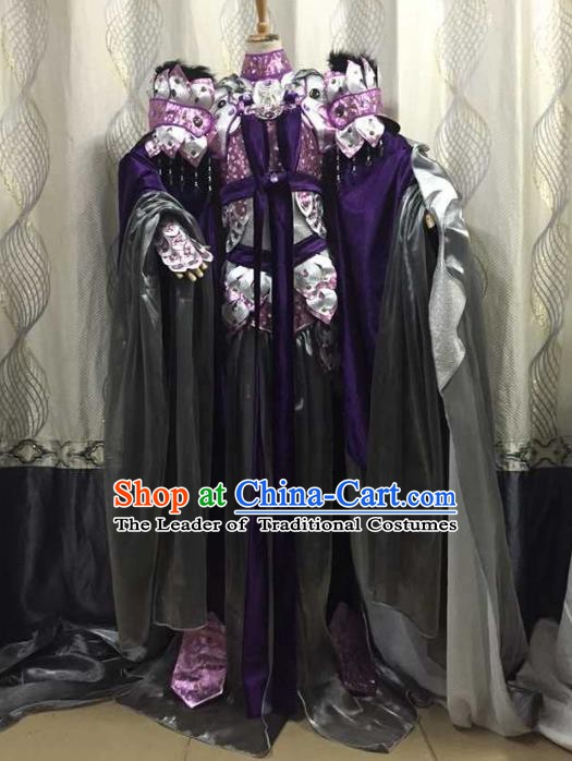 China Ancient Cosplay Female General Costume Traditional Halloween Swordsman Hanfu Clothing for Women