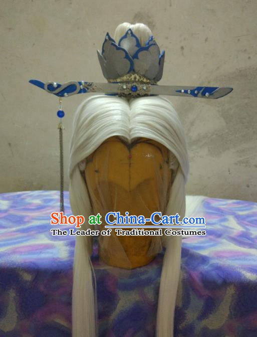Traditional China Ancient Cosplay Swordsman Hair Accessories Wig and Hairdo Crown for Men