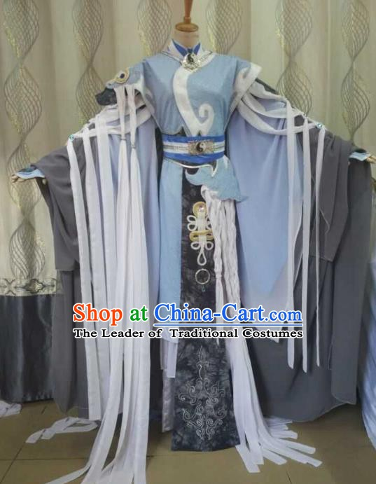 Traditional China Ancient Cosplay Taoist Priest Costume Halloween Swordsman Clothing for Men