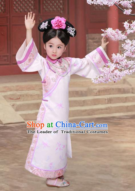 Traditional Chinese Qing Dynasty Manchu Palace Princess Costume and Headpiece for Kids
