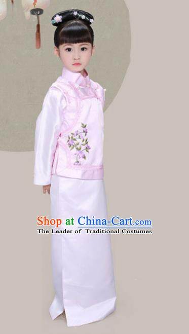 Traditional Chinese Qing Dynasty Princess Manchu Nobility Lady Costume and Headpiece for Kids