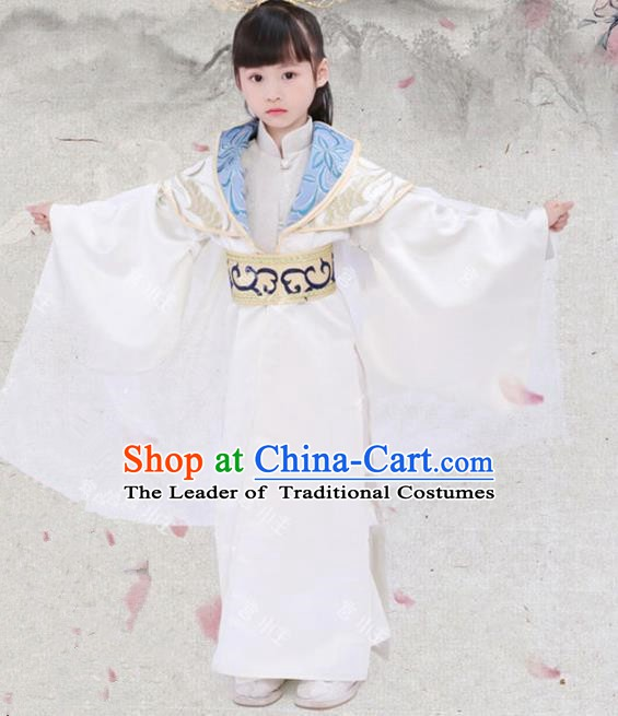 Traditional Chinese Han Dynasty Royal Highness Clothing, Ancient Nobility Prince Embroidered Costume for Kids
