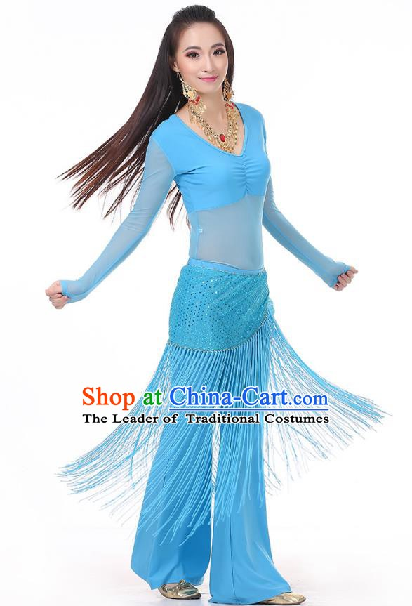 Asian Indian Belly Dance Blue Costume Stage Performance India Raks Sharki Dress for Women