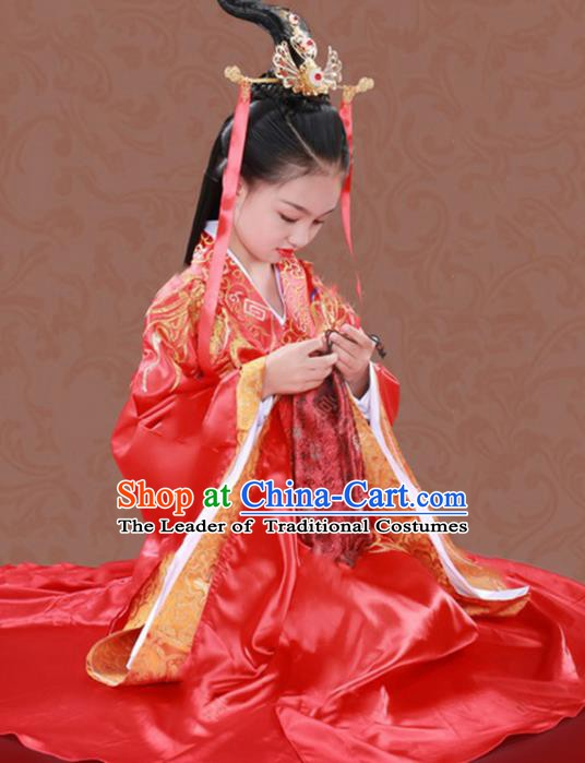 Traditional Chinese Han Dynasty Imperial Empress Clothing, China Ancient Princess Wedding Costume for Kids