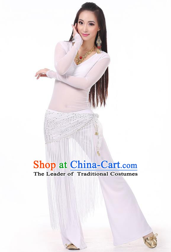 Asian Indian Belly Dance White Costume Stage Performance India Raks Sharki Dress for Women