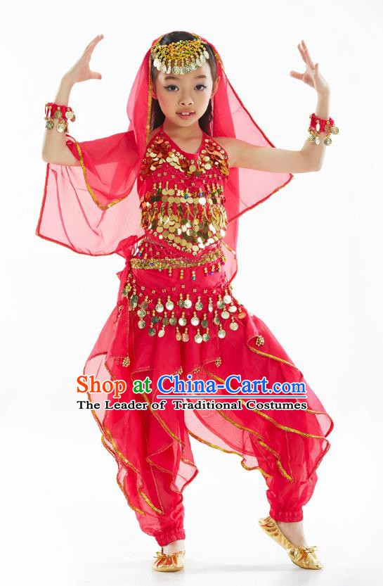 Asian Indian Belly Dance Costume Stage Performance India Raks Sharki Rosy Dress for Kids