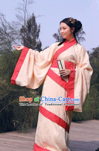 Chinese Ancient Han Dynasty Costume Princess Hanfu Curving-front Robe for Women