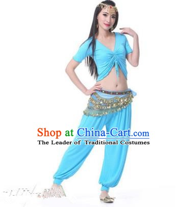 Asian Indian Belly Dance Costume Stage Performance Blue Outfits, India Raks Sharki Dress for Women