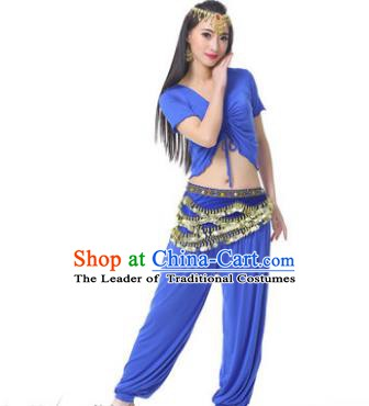 Asian Indian Belly Dance Costume Stage Performance Deep Blue Outfits, India Raks Sharki Dress for Women