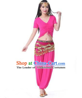 Asian Indian Belly Dance Costume Stage Performance Rosy Outfits, India Raks Sharki Dress for Women