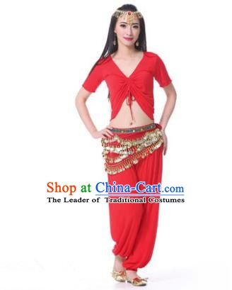 Asian Indian Belly Dance Costume Stage Performance Red Outfits, India Raks Sharki Dress for Women