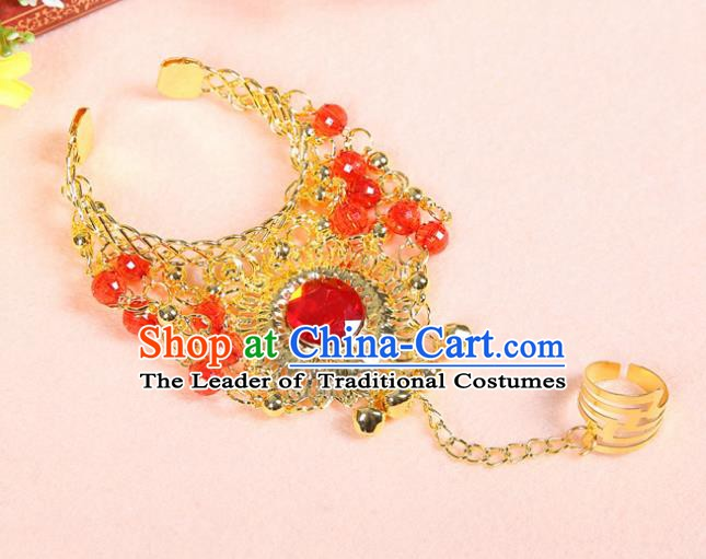 Asian Indian Belly Dance Accessories Bracelet India National Dance Red Crystal Bangle for Women