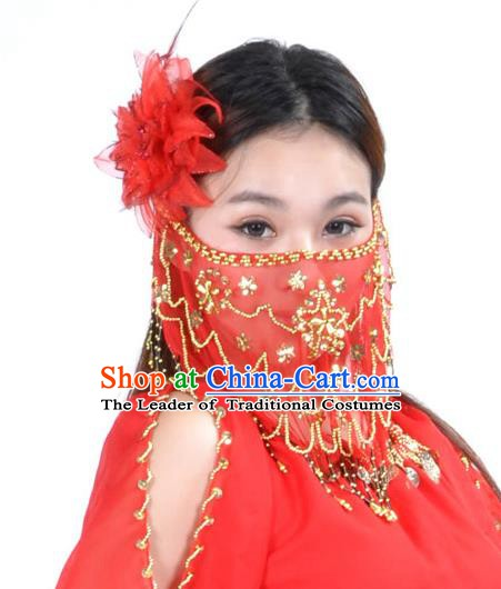 Asian Indian Belly Dance Red Veil India National Dance Mask Veil for Women