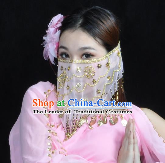 Asian Indian Belly Dance White Veil India National Dance Mask Veil for Women