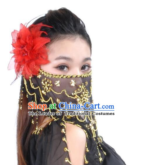 Asian Indian Belly Dance Black Veil India National Dance Mask Veil for Women