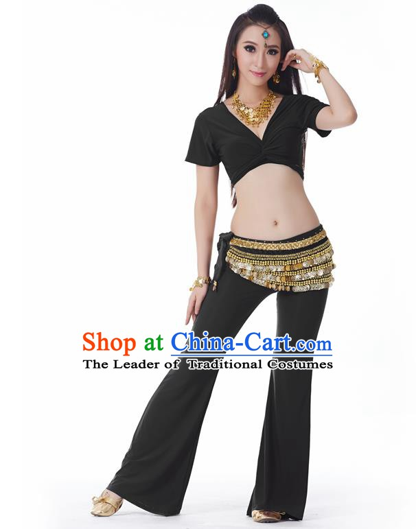 Asian Indian Belly Dance Costume Stage Performance Yoga Black Outfits, India Raks Sharki Dress for Women