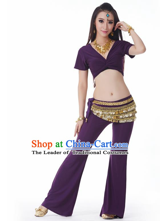 Asian Indian Belly Dance Costume Stage Performance Yoga Purple Outfits, India Raks Sharki Dress for Women