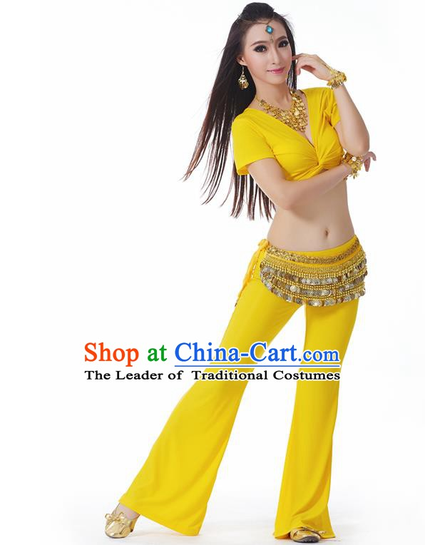 Asian Indian Belly Dance Costume Stage Performance Yoga Yellow Outfits, India Raks Sharki Dress for Women