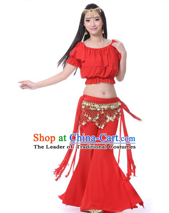 Indian Belly Dance Red Uniform India Raks Sharki Dress Oriental Dance Rosy Clothing for Women