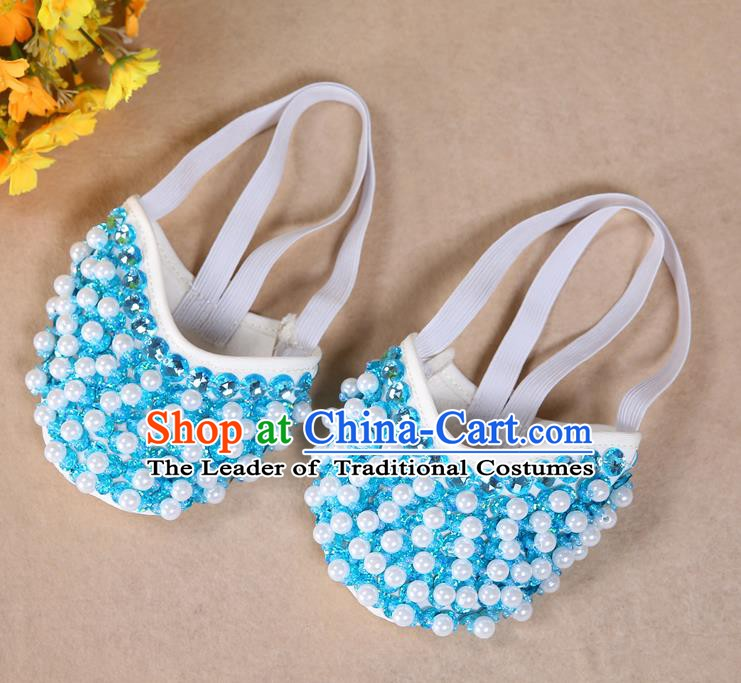 Asian Indian Belly Dance Shoes India Traditional Dance Light Blue Beads Soft Shoes for for Women