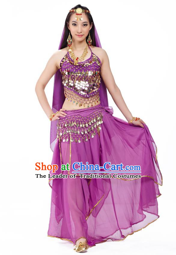 Asian Indian Belly Dance Purple Costume Stage Performance Outfits, India Raks Sharki Dress for Women