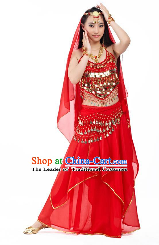 Asian Indian Belly Dance Red Costume Stage Performance Outfits, India Raks Sharki Dress for Women