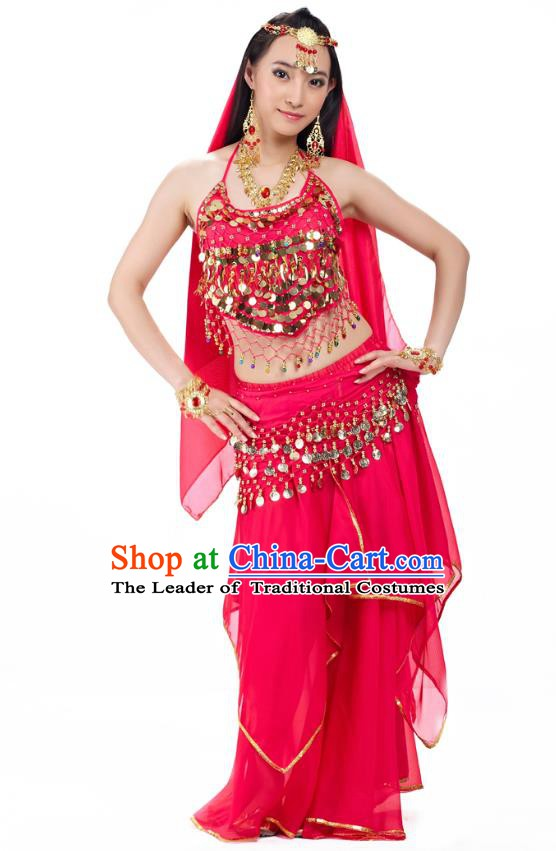 Asian Indian Belly Dance Rosy Costume Stage Performance Outfits, India Raks Sharki Dress for Women