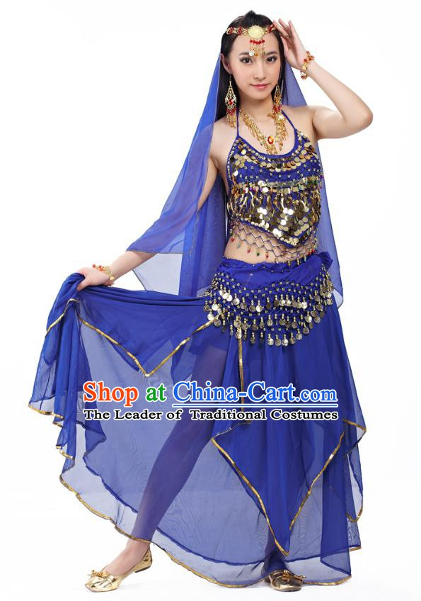 Asian Indian Belly Dance Royalblue Costume Stage Performance Outfits, India Raks Sharki Dress for Women