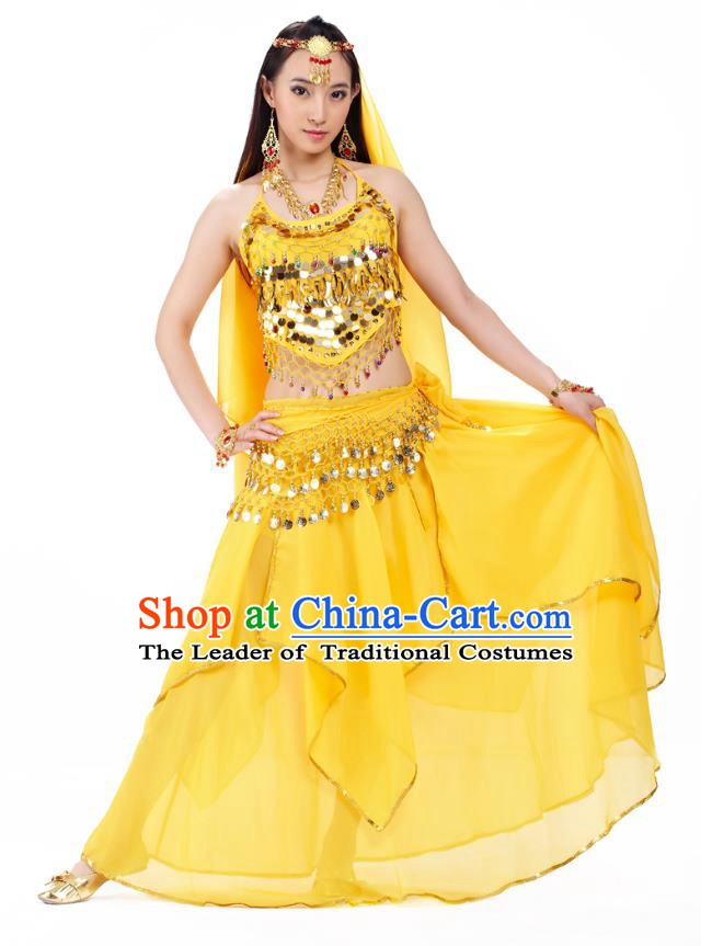 Asian Indian Belly Dance Yellow Costume Stage Performance Outfits, India Raks Sharki Dress for Women