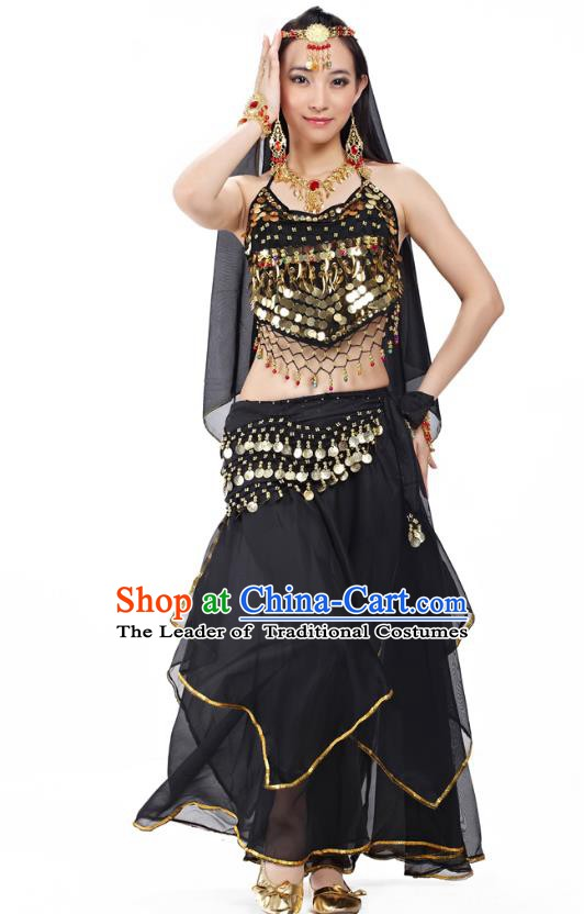 Asian Indian Belly Dance Black Costume Stage Performance Outfits, India Raks Sharki Dress for Women