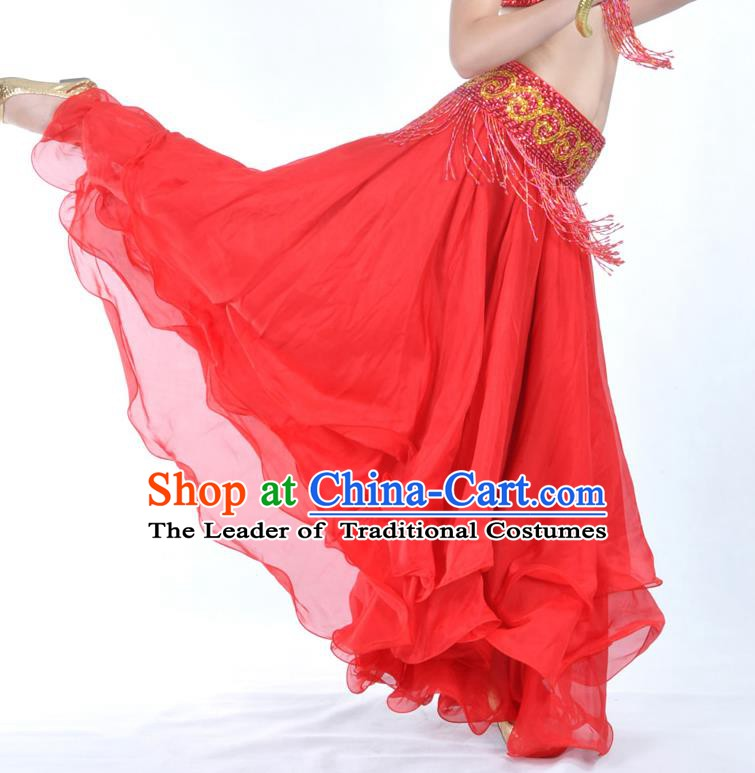 Asian Indian Belly Dance Costume Stage Performance Red Expansion Skirt, India Raks Sharki Dress for Women