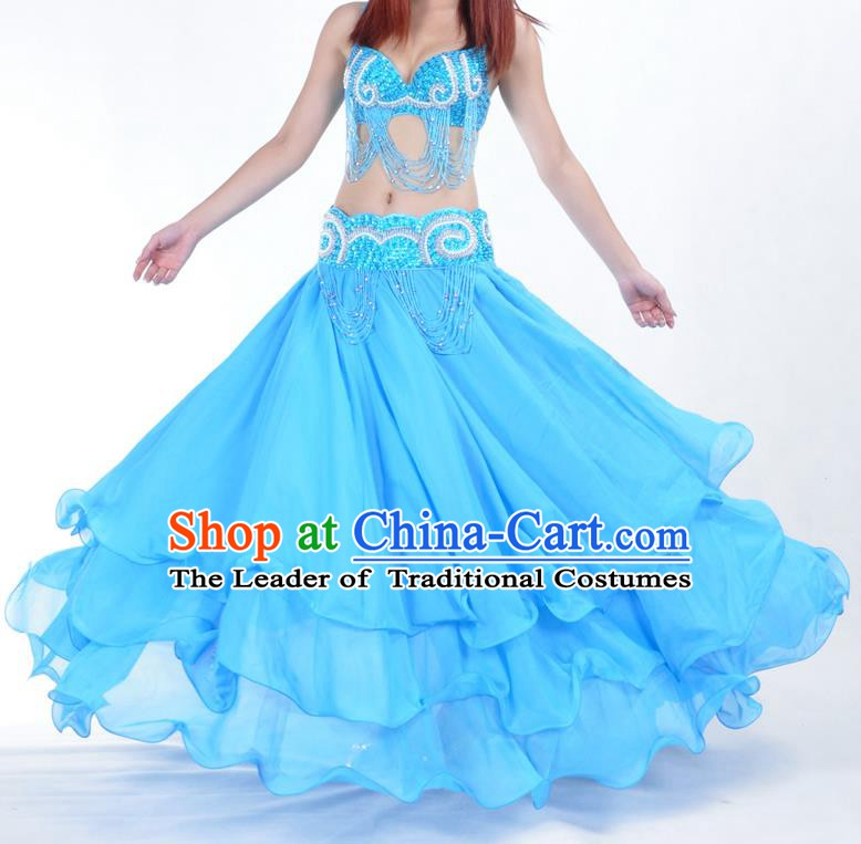 Asian Indian Belly Dance Costume Stage Performance Blue Expansion Skirt, India Raks Sharki Dress for Women