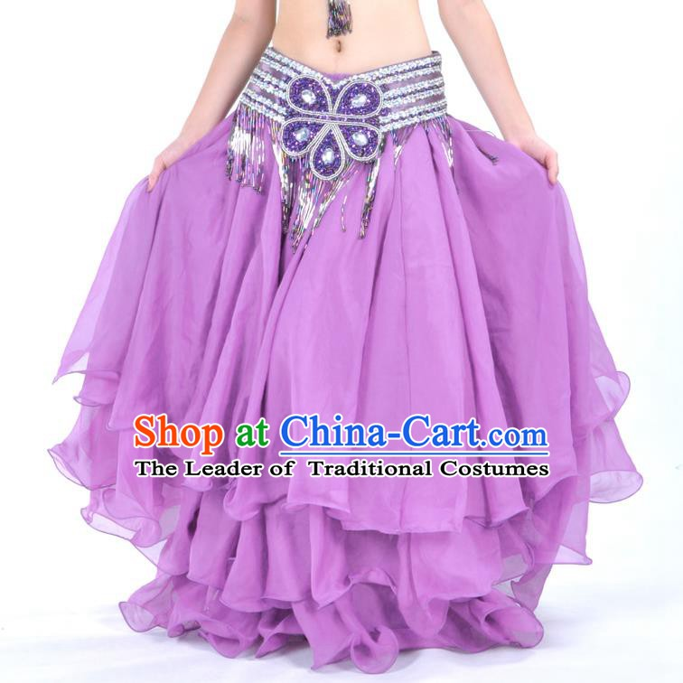 Asian Indian Belly Dance Costume Stage Performance Purple Expansion Skirt, India Raks Sharki Dress for Women
