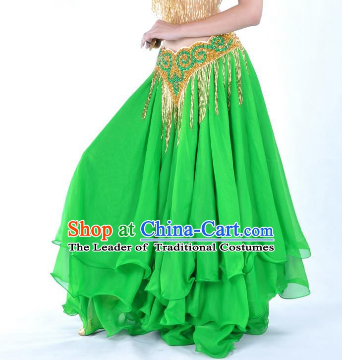 Asian Indian Belly Dance Costume Stage Performance Green Expansion Skirt, India Raks Sharki Dress for Women