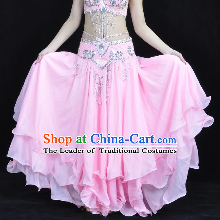 Asian Indian Belly Dance Costume Stage Performance Pink Expansion Skirt, India Raks Sharki Dress for Women