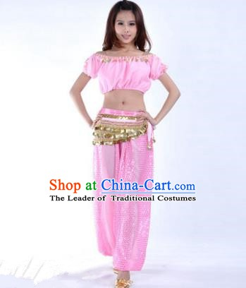 Asian Indian Belly Dance Costume Stage Performance Yoga Pink Uniform, India Raks Sharki Dress for Women