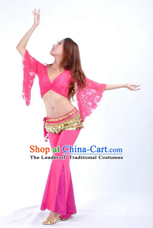 Indian Belly Dance Rosy Lace Costume India Raks Sharki Suits Oriental Dance Clothing for Women